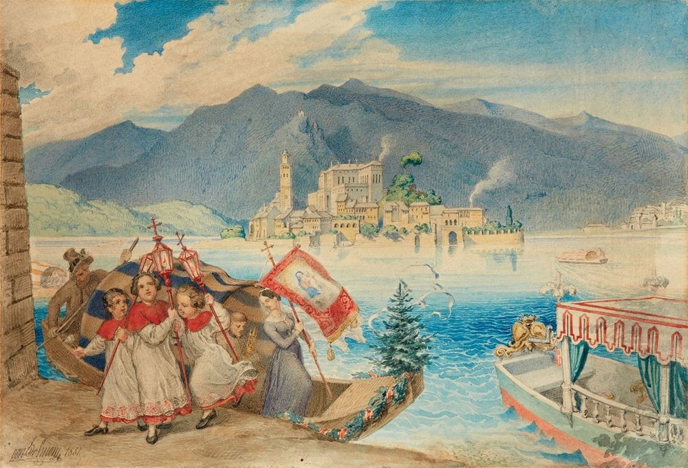 Ludwig Ferdinand Schnorr von Carolsfeld  (Königsberg 1788 - 1853 Vienna)  Pilgrimage to the Shrine of the Madonna del Sasso on Lake Maggiore  Watercolor on Paper on Cardboard  17,8 x 25,8 cm, framed  Signed and dated lower left: von C Schnorr 1851.