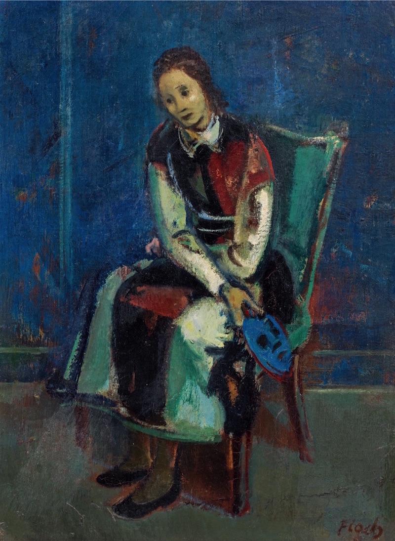 """Josef Floch  (Wien 1894 - 1977 New York)  Mädchen mit blauer Maske  Öl auf Leinwand  ca. 61 x 45cm, gerahmt  rechts unten signiert """"Floch""""  wird ins Werkverzeichnis von Karl Pallauf aufgenommen  Provenienz: Privatbesitz, USA"""