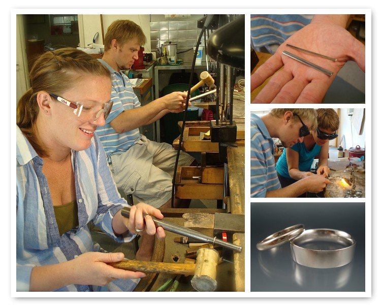 Ashley and Chris  Ashely made a 14k white gold band and Chris made a palladium band.
