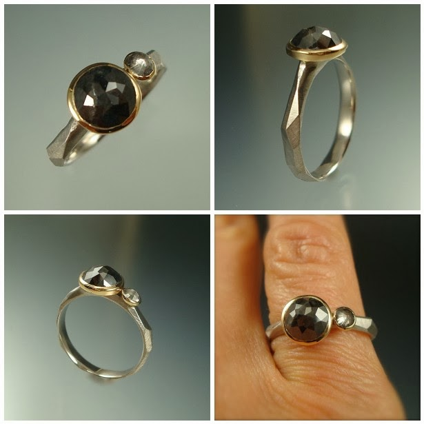 Rx3 week #1 - Black Diamond Chiseled Ring: 1.3ct rose cut black diamond, .013ct rose cut grey diamond, 14k yellow gold, .950 palladium