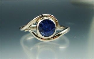Blue Sapphire and White Gold Vine Engagement Ring by Danielle Miller Jewelry