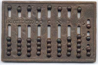 A modern replica of a Roman hand abacus from 1st century CE