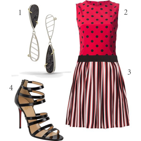 1/DANIELLE MILLER Asymmetrical Earring.  2/DOLCE & GABBANA polka dot tank top.  3/MANGO Striped skater skirt.  4/Christian Louboutin Strappy Sandals