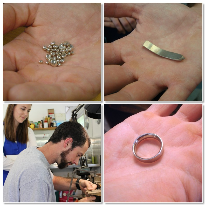 From raw metal to finished ring in 8 hours! Danny & Jenna made Danny's 14k white gold wedding ring.