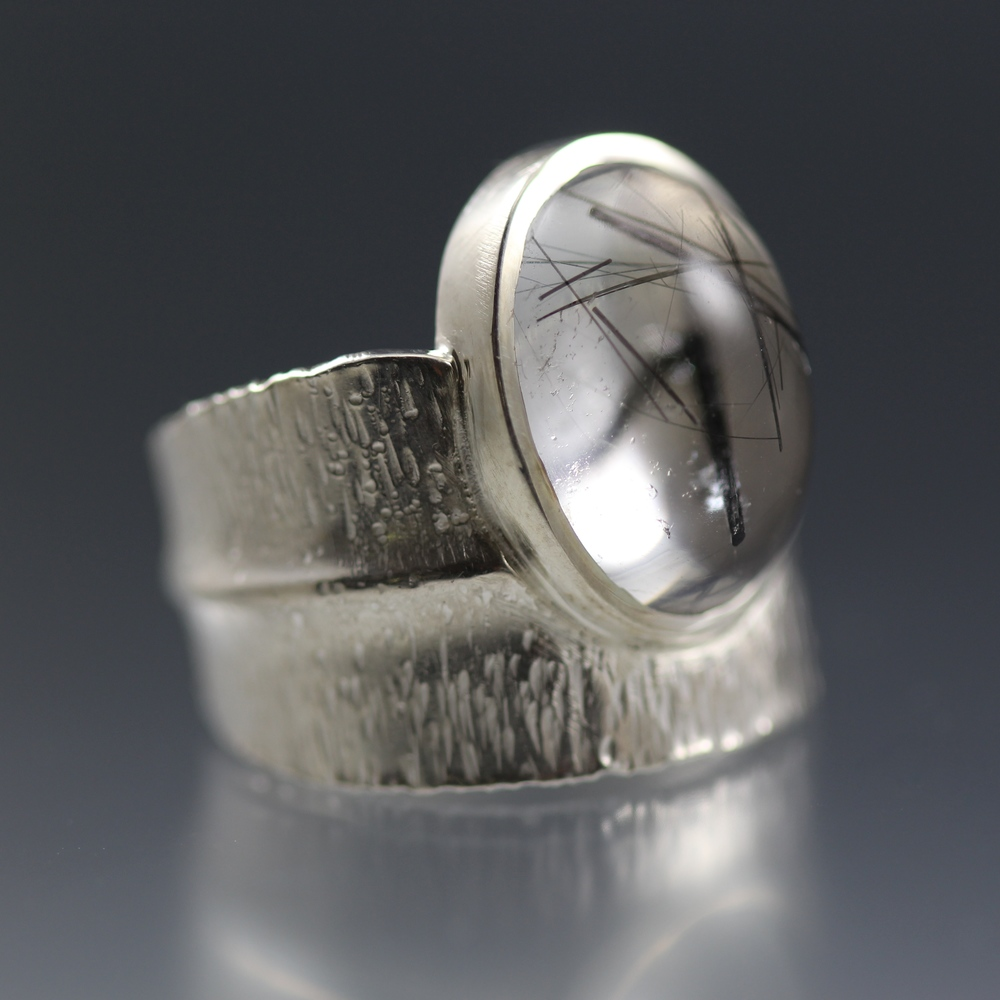 Tourmalated Quartz Leaf Ring