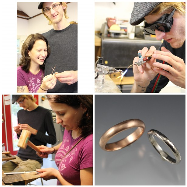 Laura made Jason's rose gold ring and Jason made Laura's palladium ring!