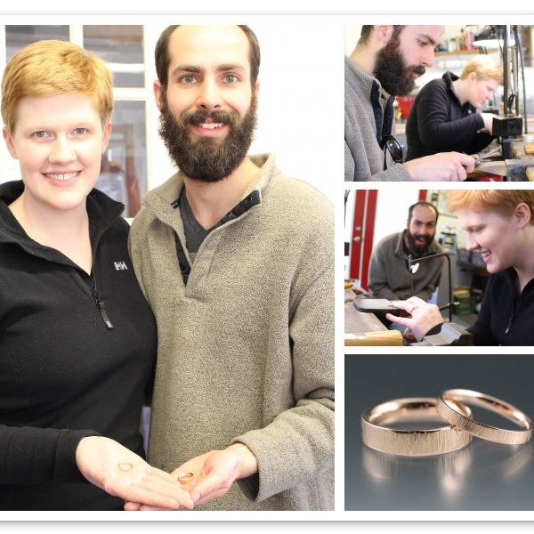 Heather and Sean made their rings in 14k rose gold with a hammer texture.