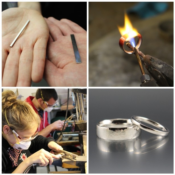Kourtney and John made their palladium wedding bands in my workshop.