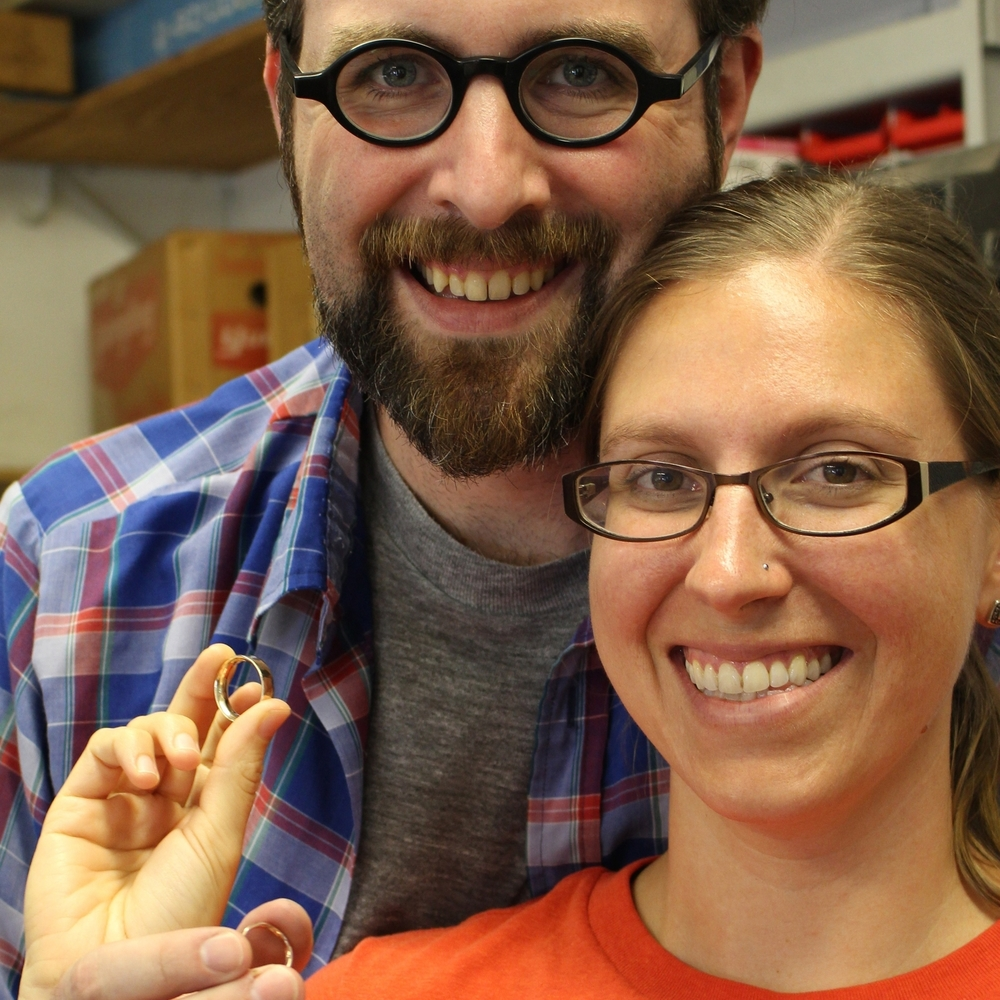 Sarah and Josh made their rings in rose gold and yellow gold.
