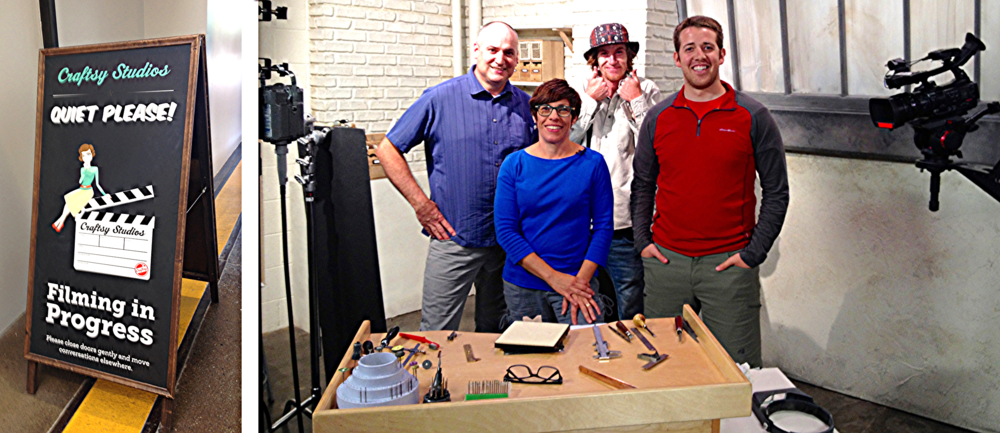 "Crafty's ""Professional Bezel Setting Techniques"" film crew: Jon, Danielle, Breken and Caleb."
