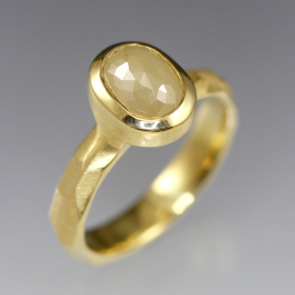 Creamy white rose cut diamond and 18k yellow gold