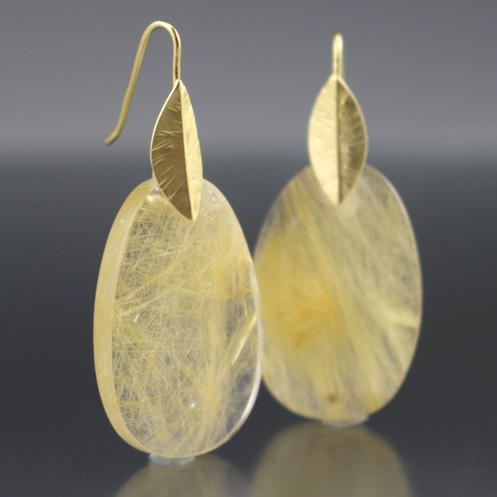 18k Gold and Rutile Quartz Earrings