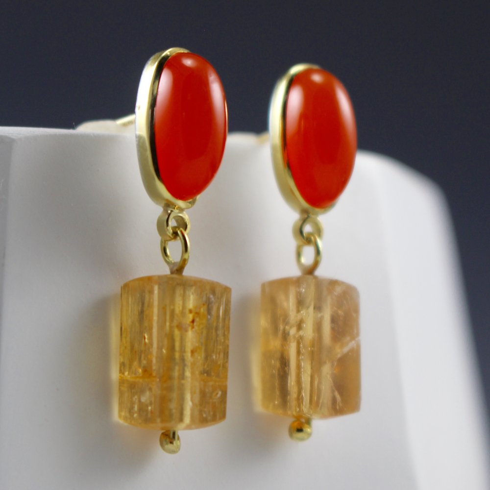 Carnelian and Precious Topaz Earring