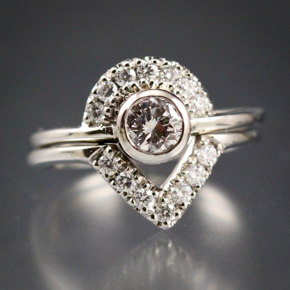 Palladium and diamond wedding set made by Danielle Miller Jewelry