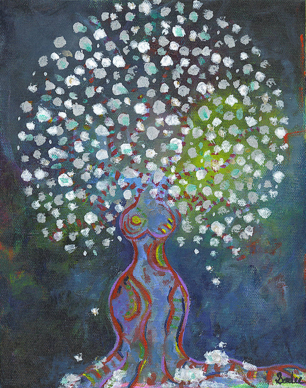 Tree Woman - Snow  Acrylic on Canvas 10 x 8 in.