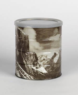 Ansel Adams: Hills Brothers coffee can with wraparound image of Yosemite. 1969