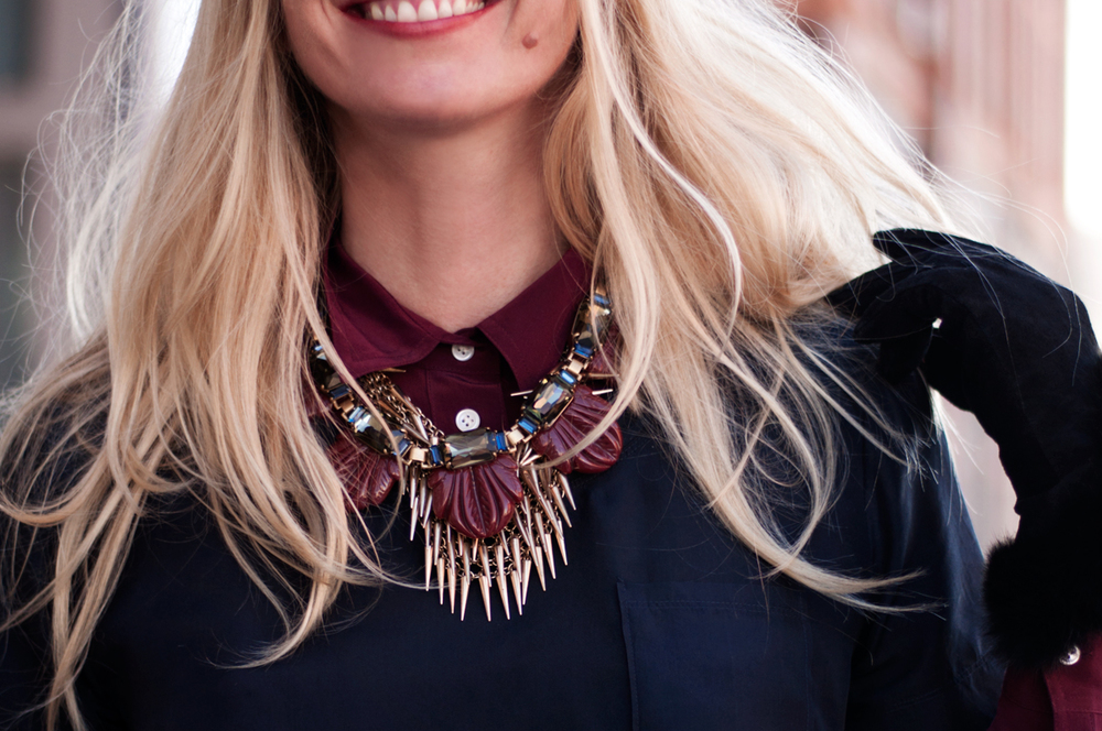 J Crew Fanned Leaf Necklace