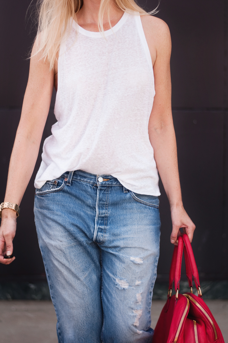 Mossimo Supply Co. White Linen Tank