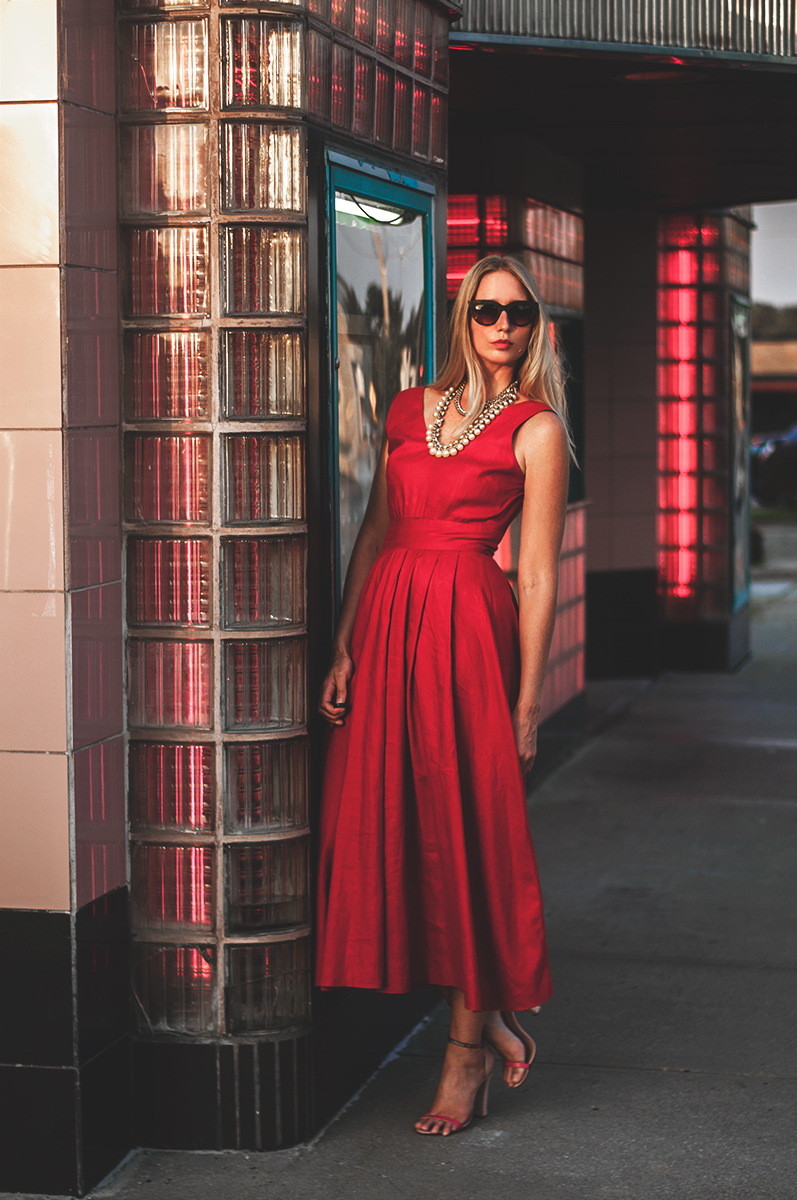 Red Linen Dress with J Crew Jewelry and Schutz Shoes