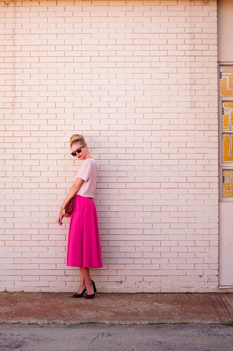 Hot Pink Midi Skirt