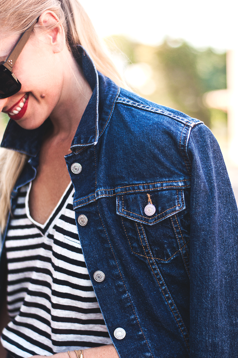 Levis Denim Jacket with Striped T Shirt