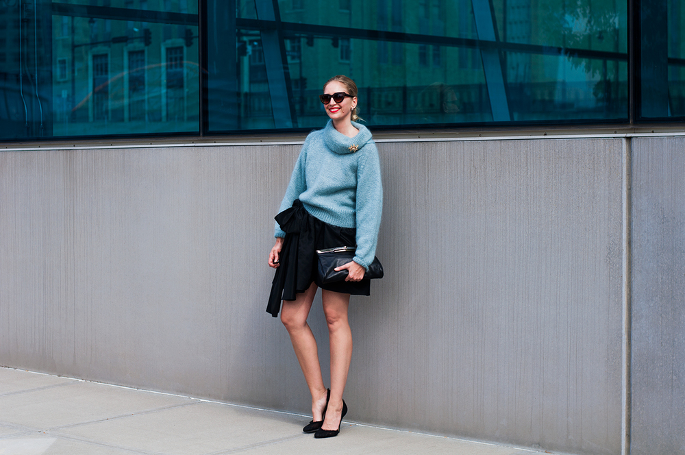 Slouchy Sweater with Mini Skirt