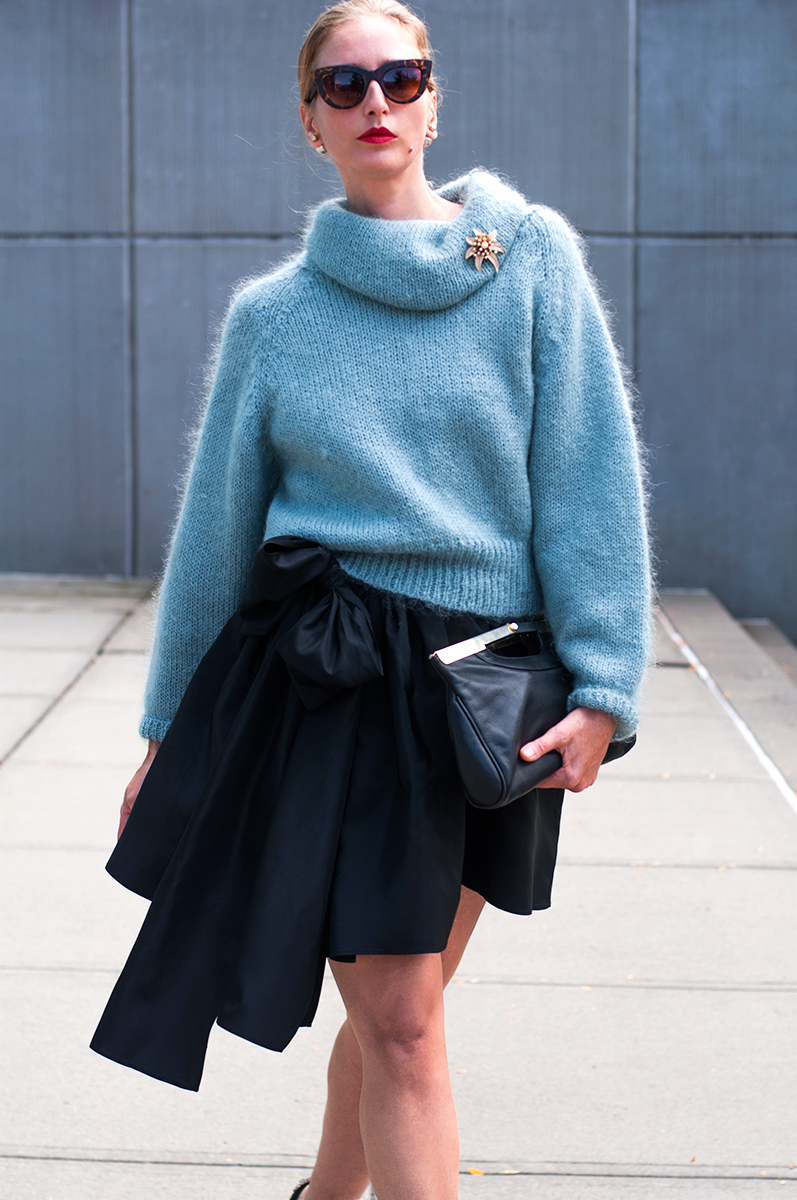 Full Skirt with Bow and Slouchy Sweater