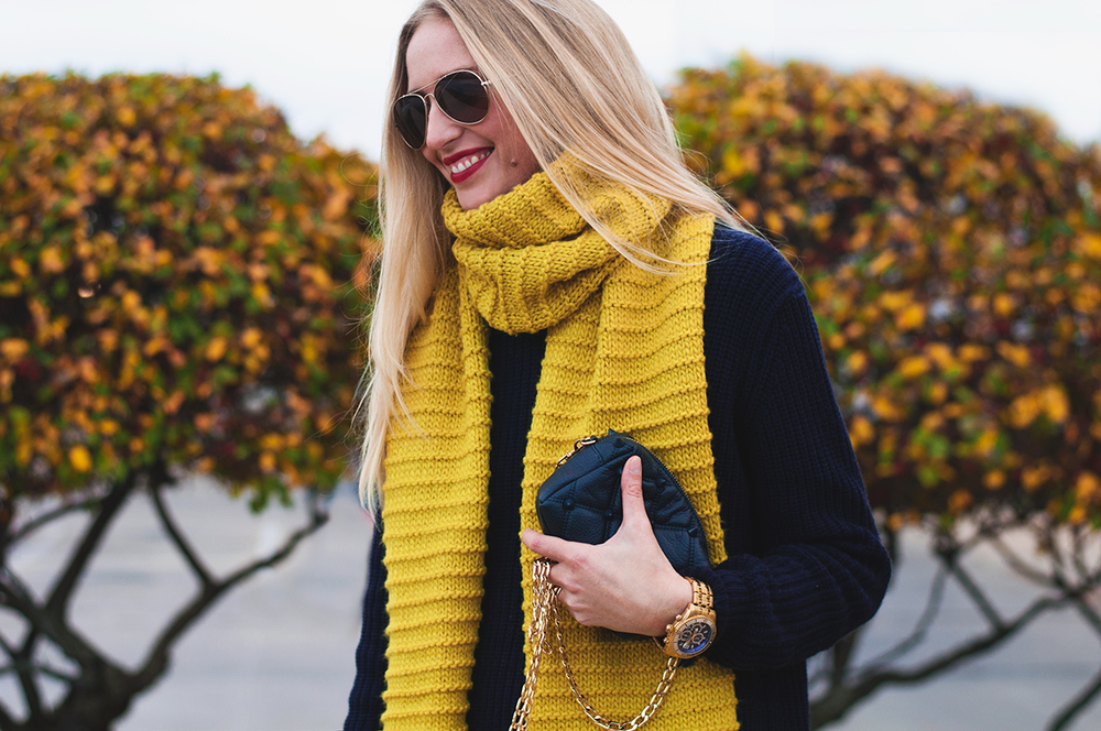 Zara Knit Scarf in Lime Green
