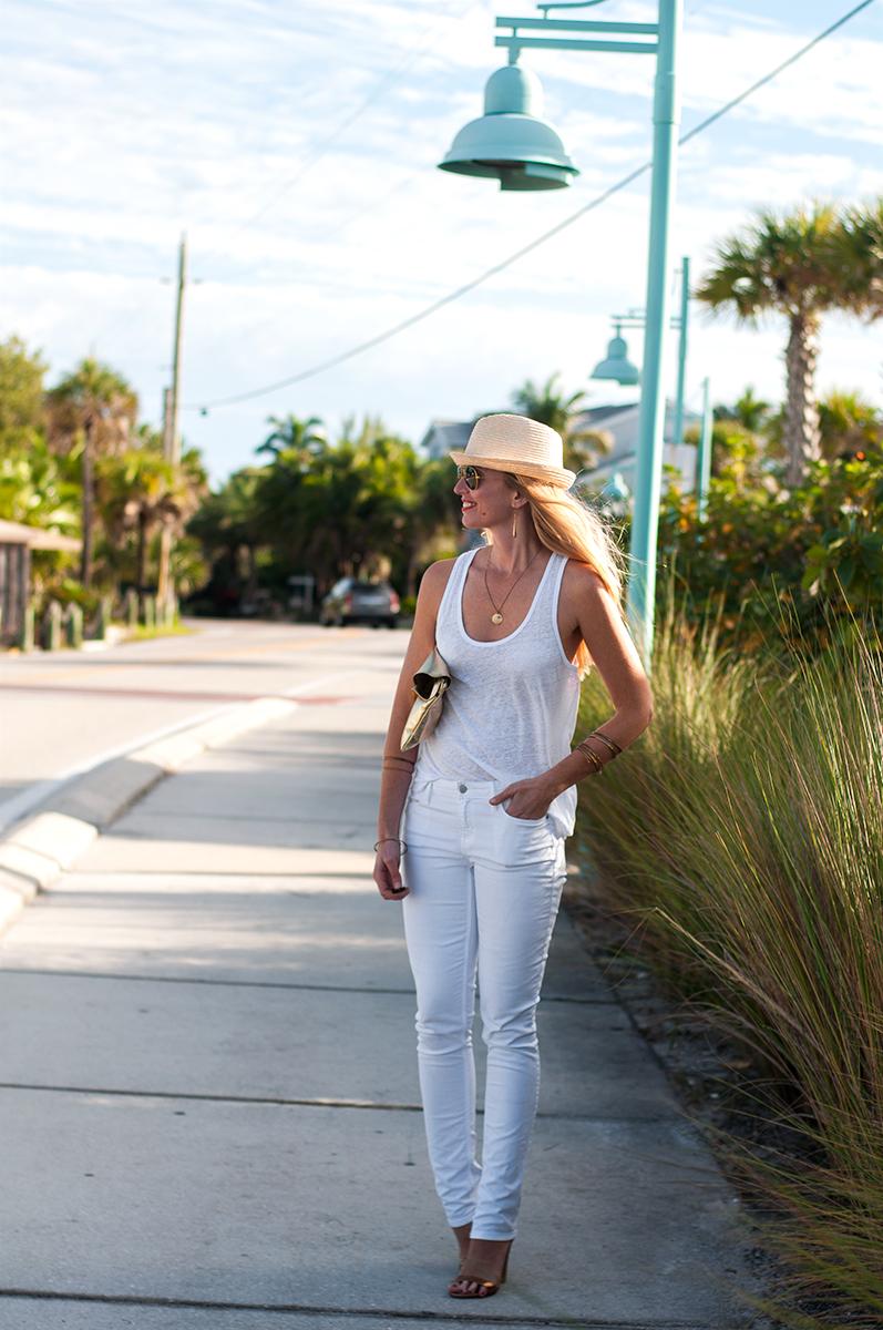 J Crew Linen Tank, White Jeans, & Lanie Sandal