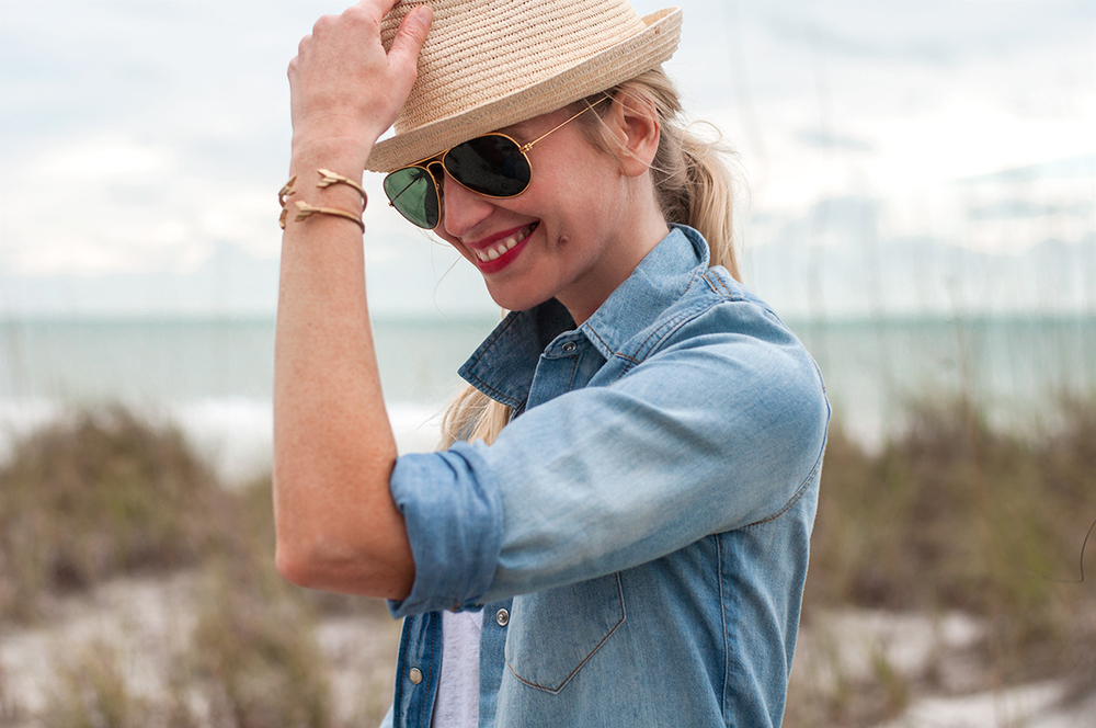 J Crew Denim Western Shirt in Pale Indigo
