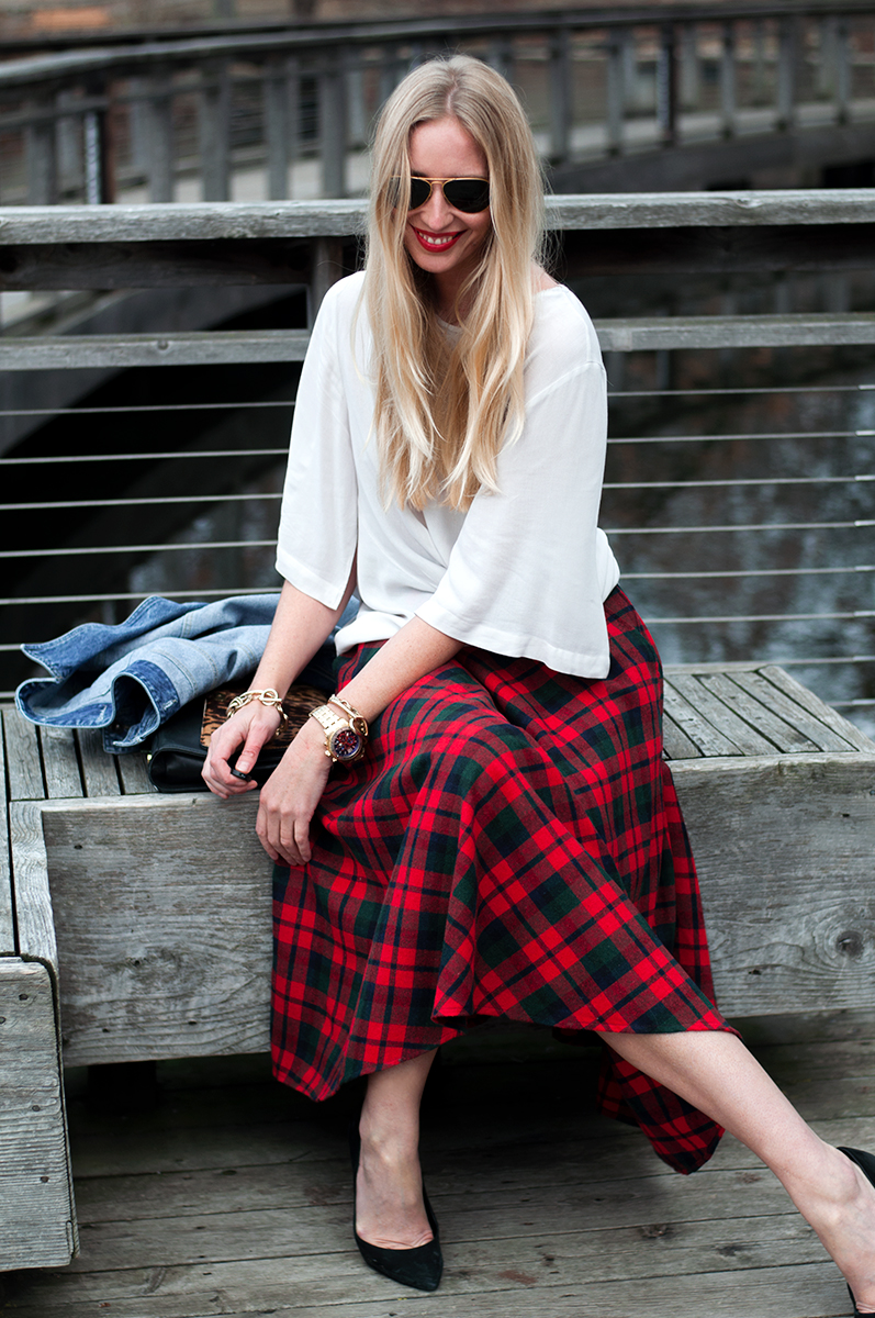 Christmas plaid Midi Skirt