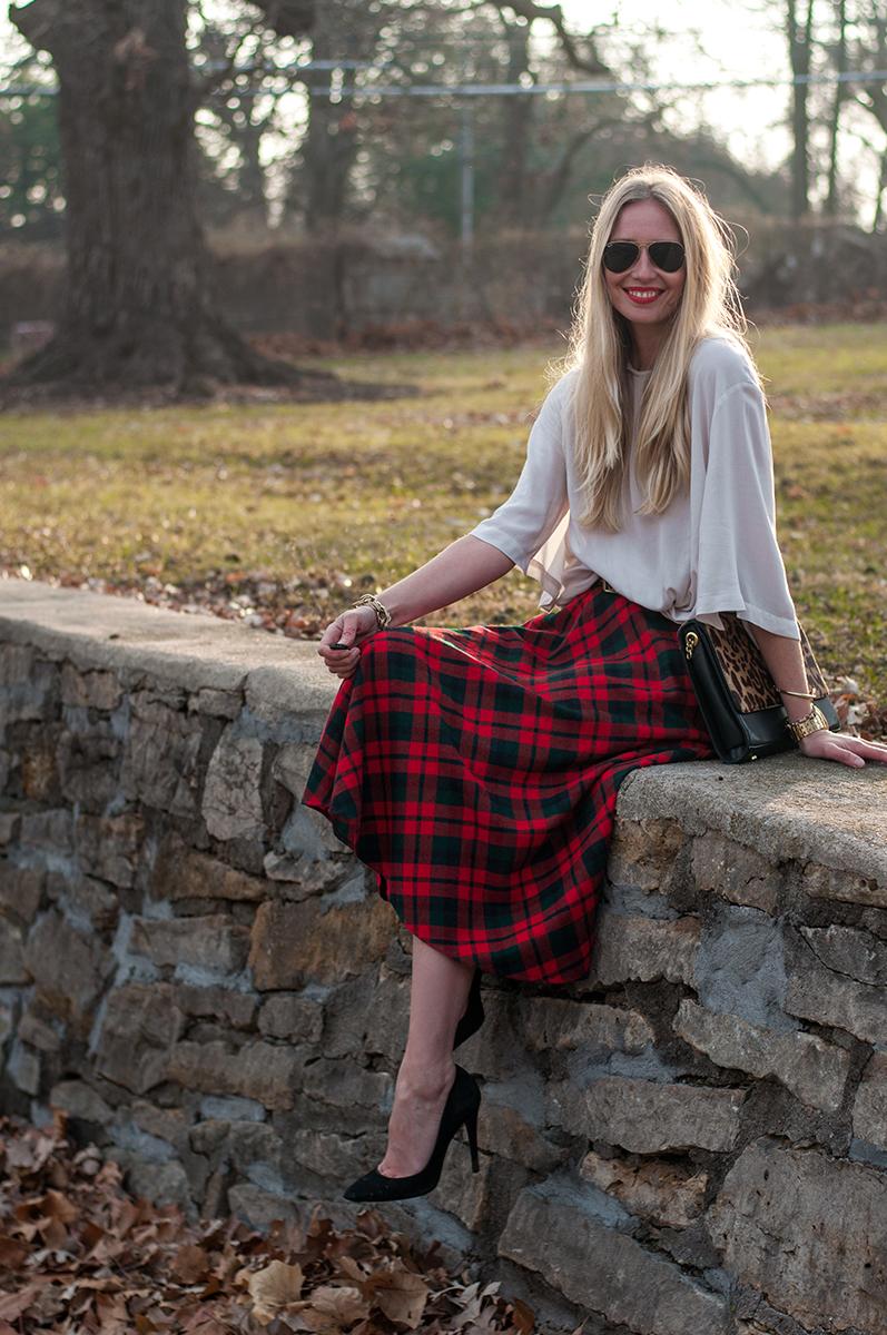 Vintage Tartan Wool Christmas  Midi Skirt