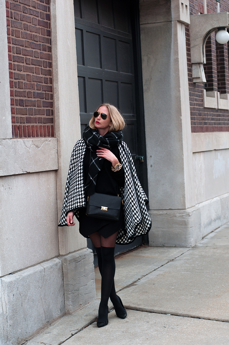 The Shopping Bag, Houndstooth Cardigan Cape