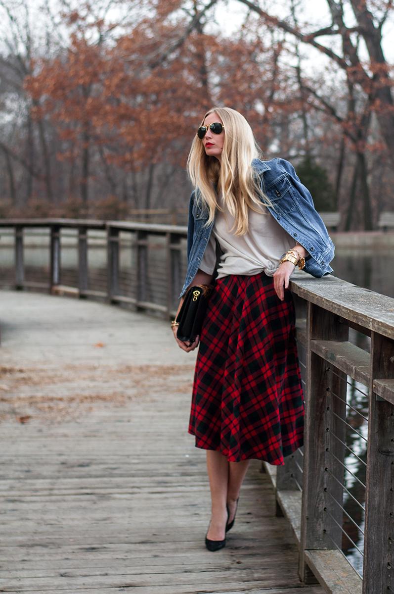Vintage Tartan Midi Skirt