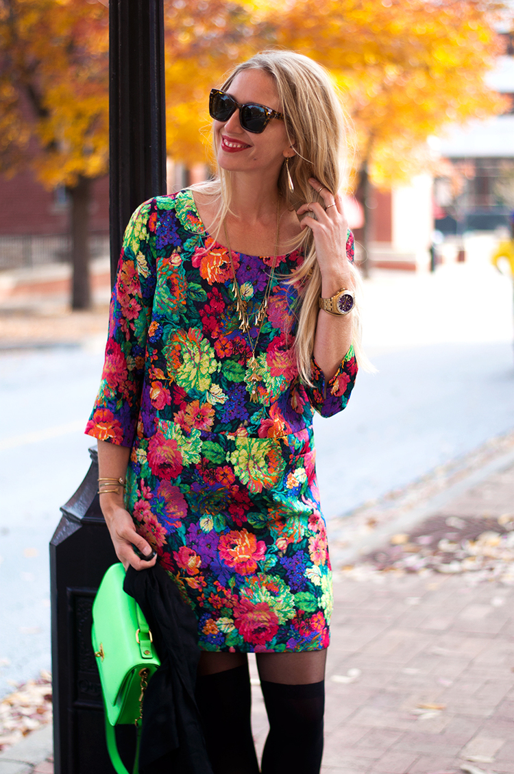 Faux Thigh High with Fall Floral Shift Dress