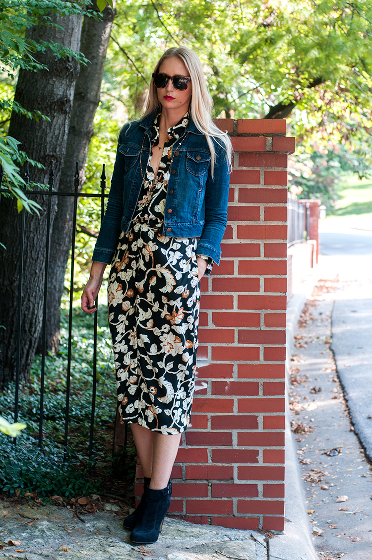 Fall Floral Midi Dress with Ankle Boots
