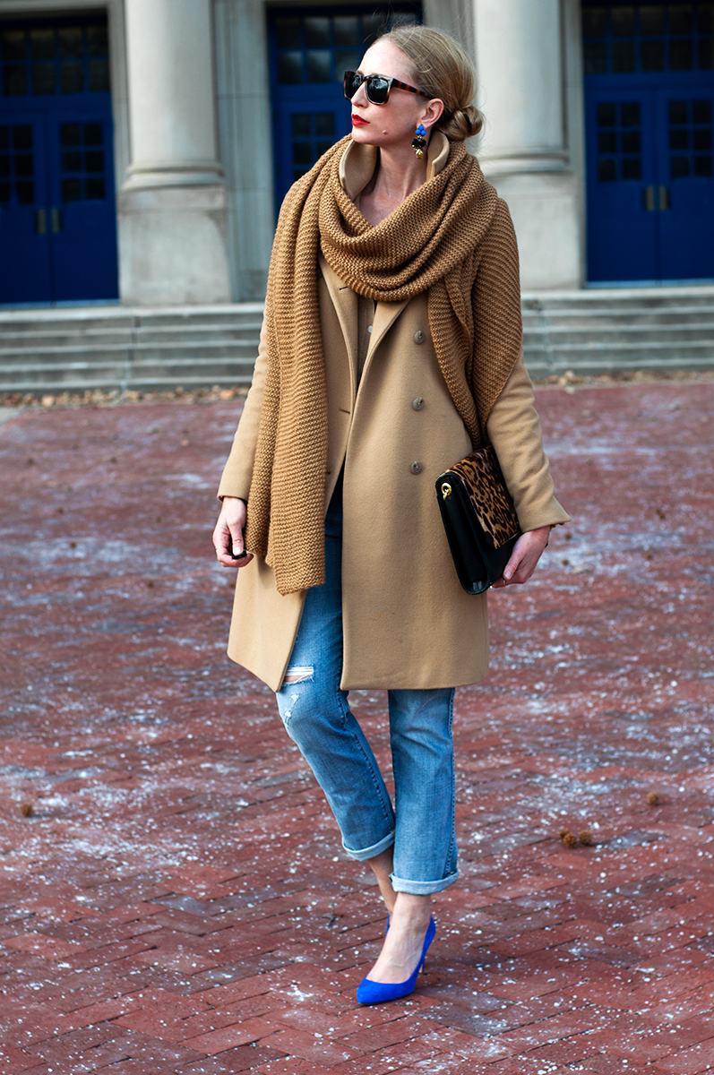 J Crew Blogger Style - Statement Earrings and Zara Scarf