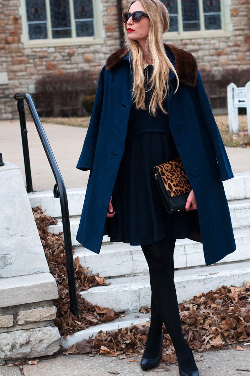 Vintage Navy Blue Wool Coat