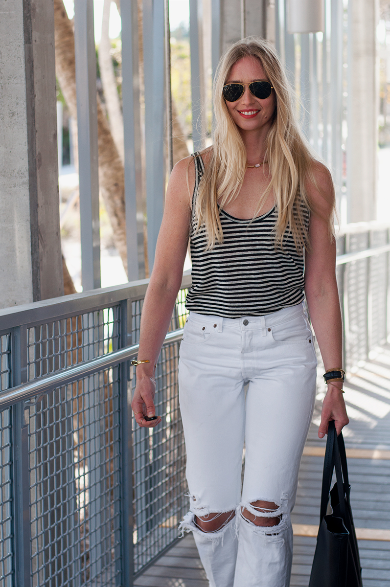 Levis 501 White Knee Ripped Denim Jeans