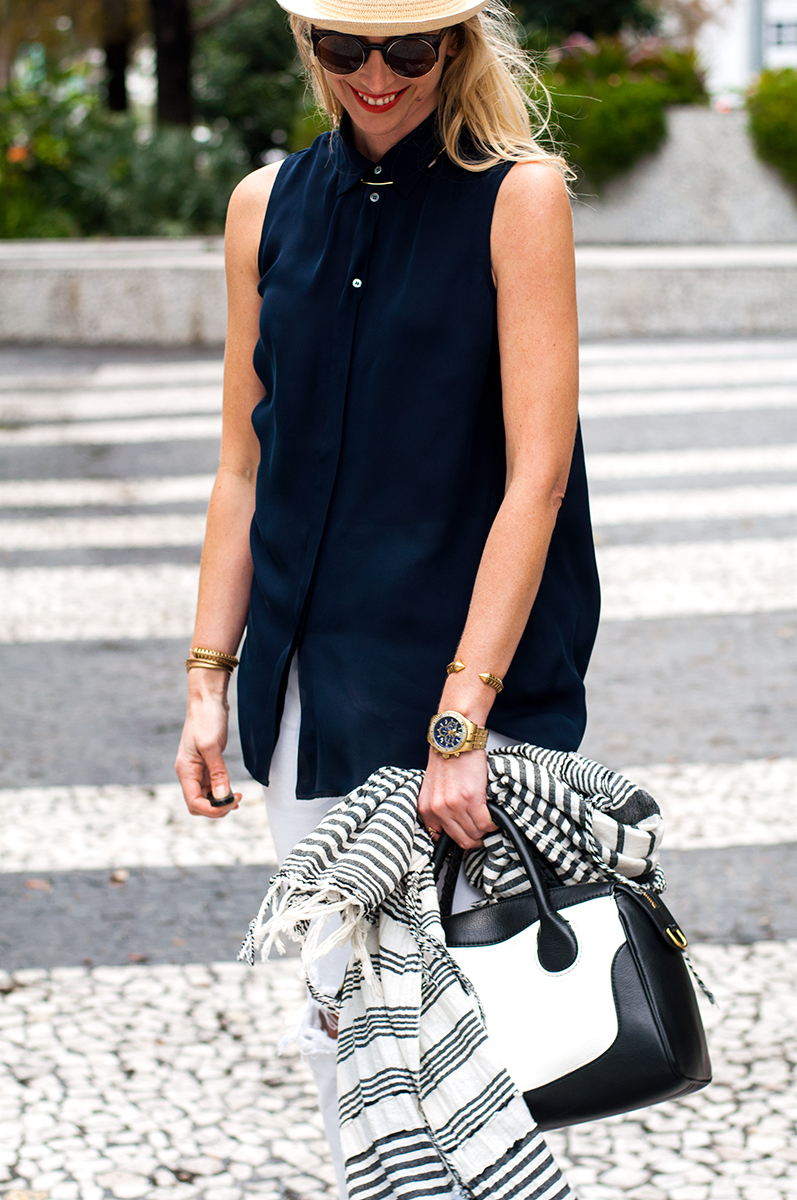 J Crew Sleeveless Silk Blouse and Kirby Satchel