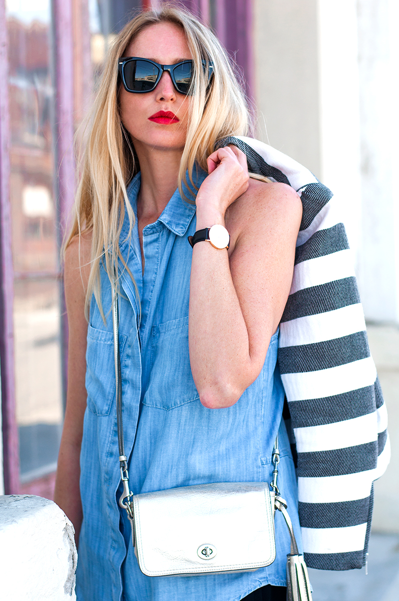 Chambray, Stripes, and Silver - J Crew Blogger Style