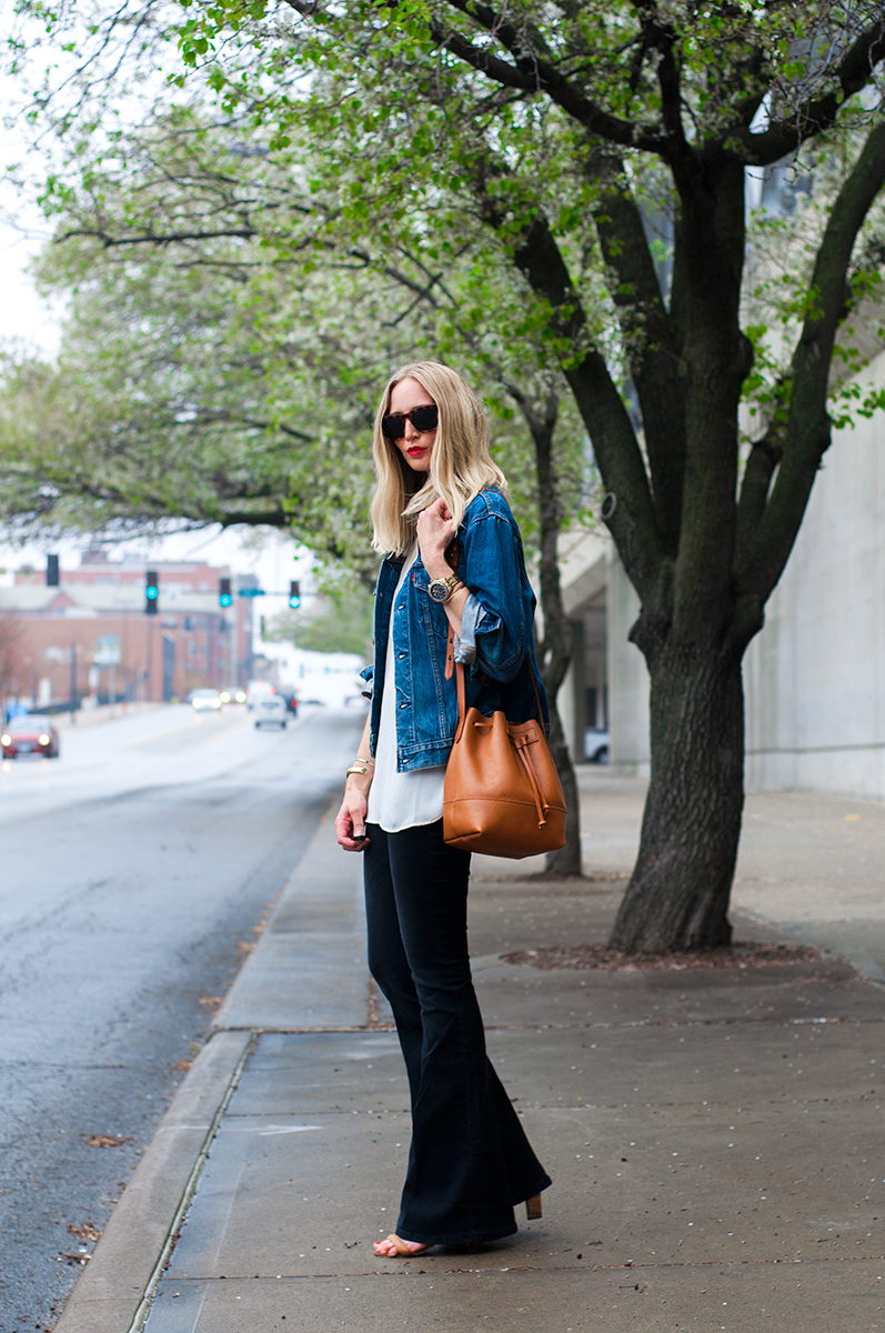 Free People Pull On Kick Flare Jean and J Crew Downing Bucket Bag