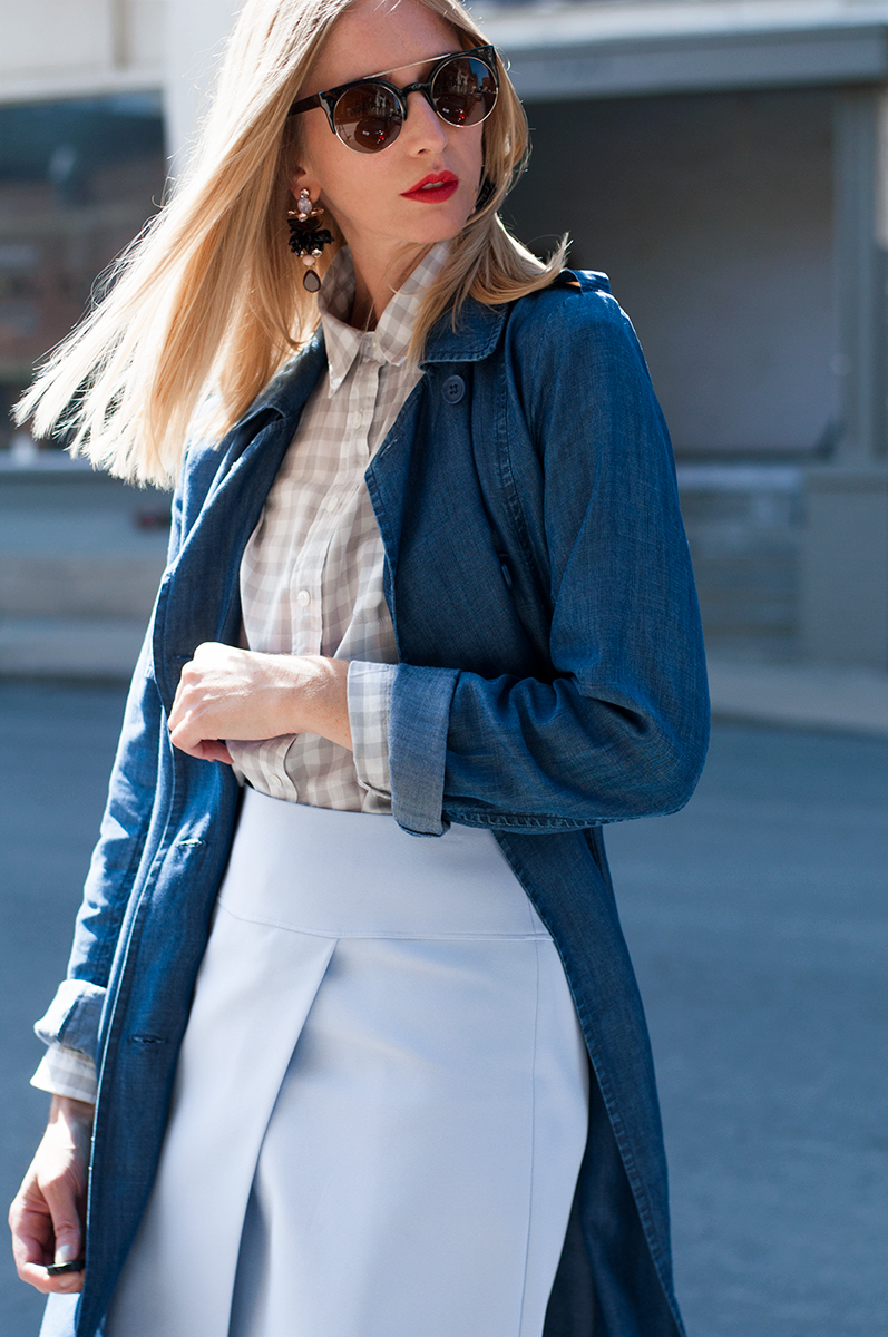 Forever 21 Washed Denim Trench Coat