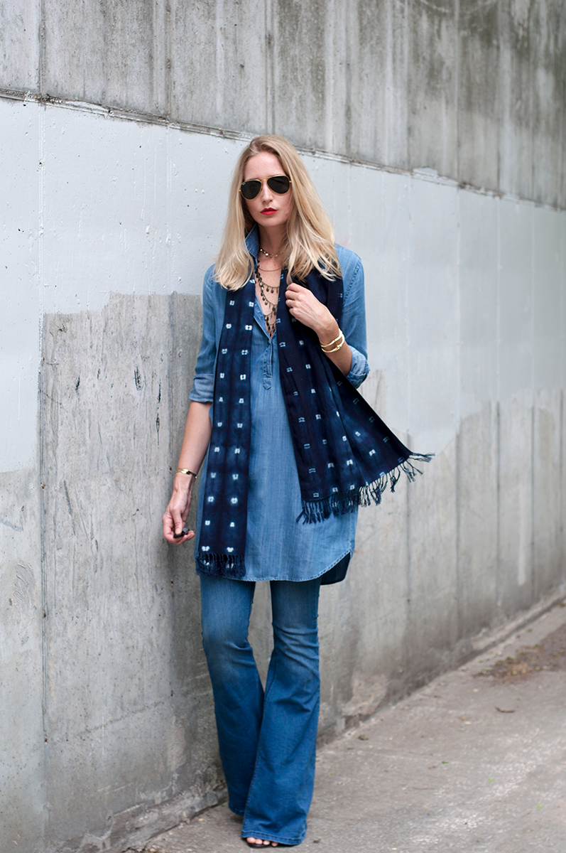 Free People Kick Flare Jeans, Denim on Denim