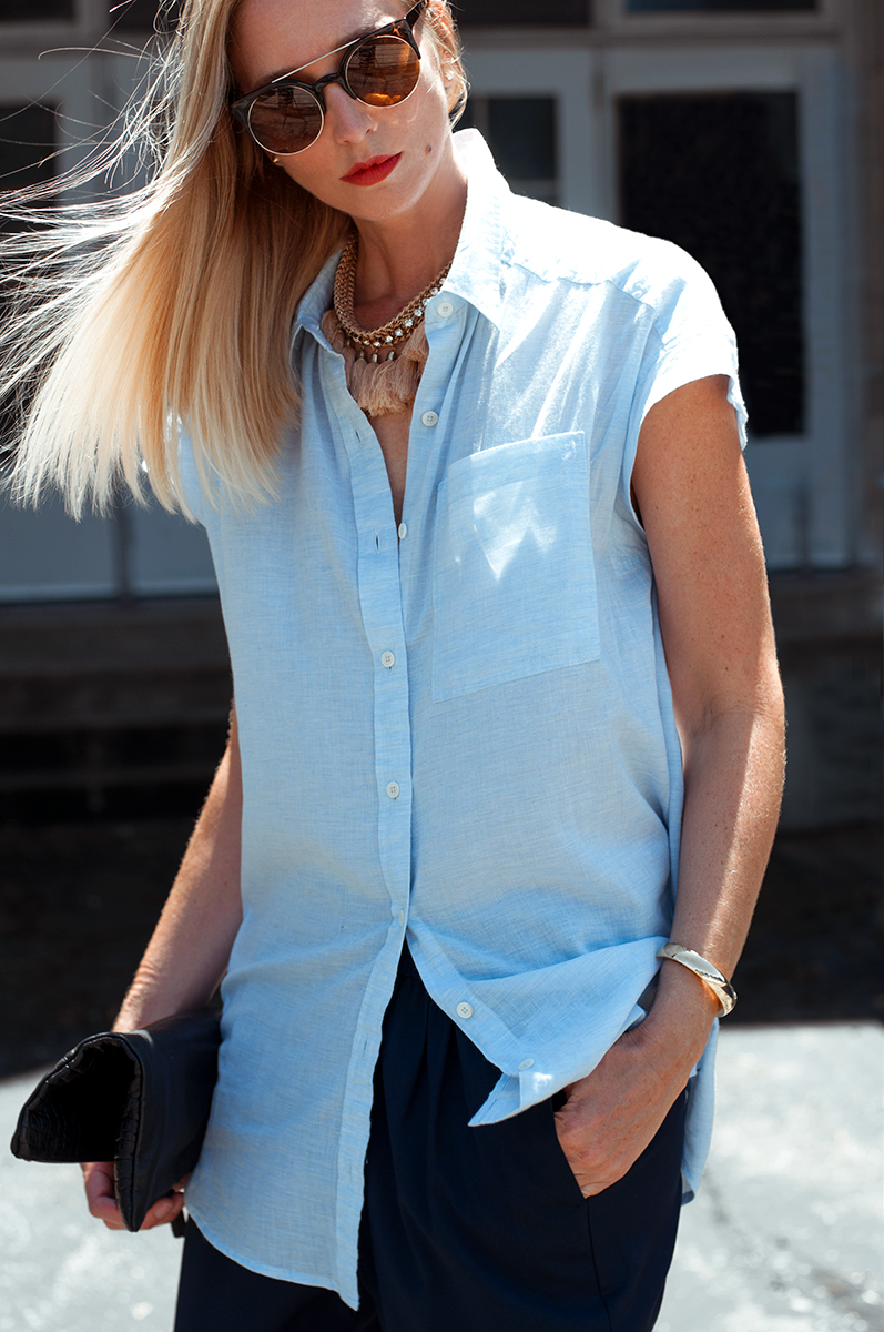 Forever 21 Longline Chambray Shirt and Tassel Necklace