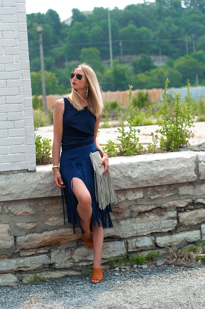 Forever 21 Tiered Fringe Midi Skirt