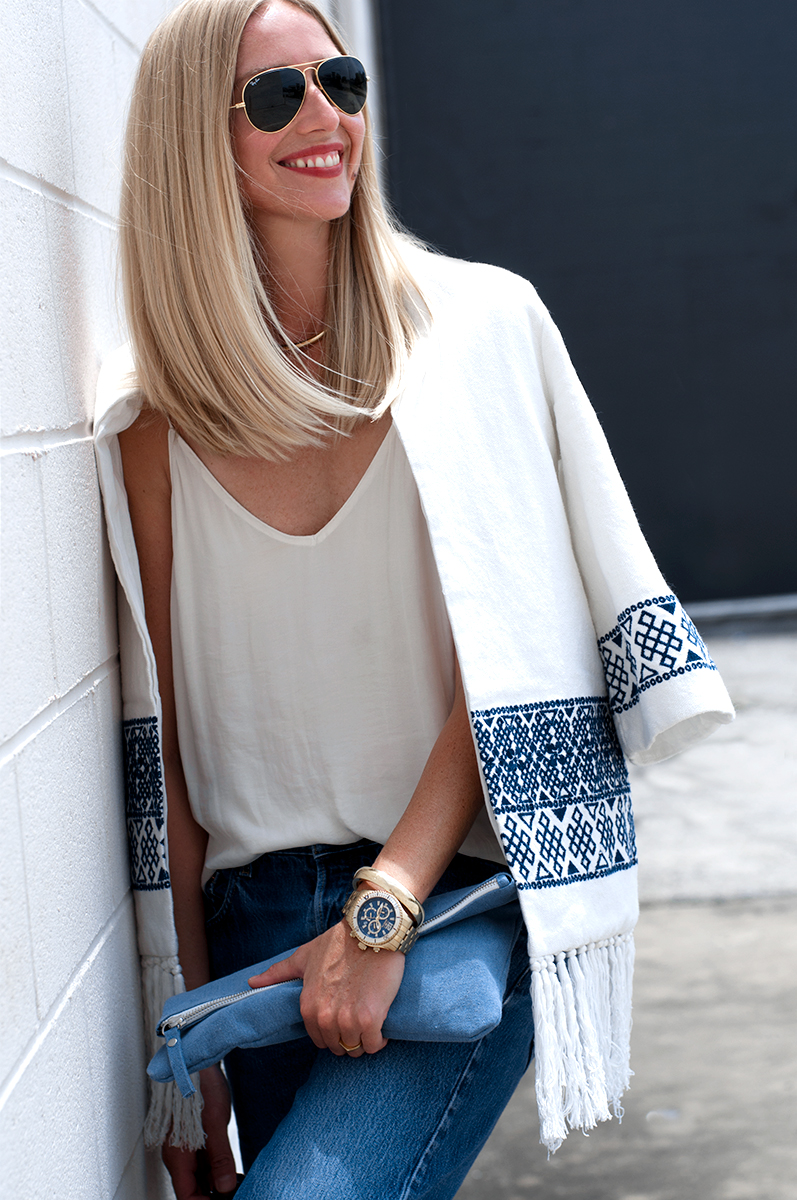 Zara Embroidered Kimono with Tassel Fringe