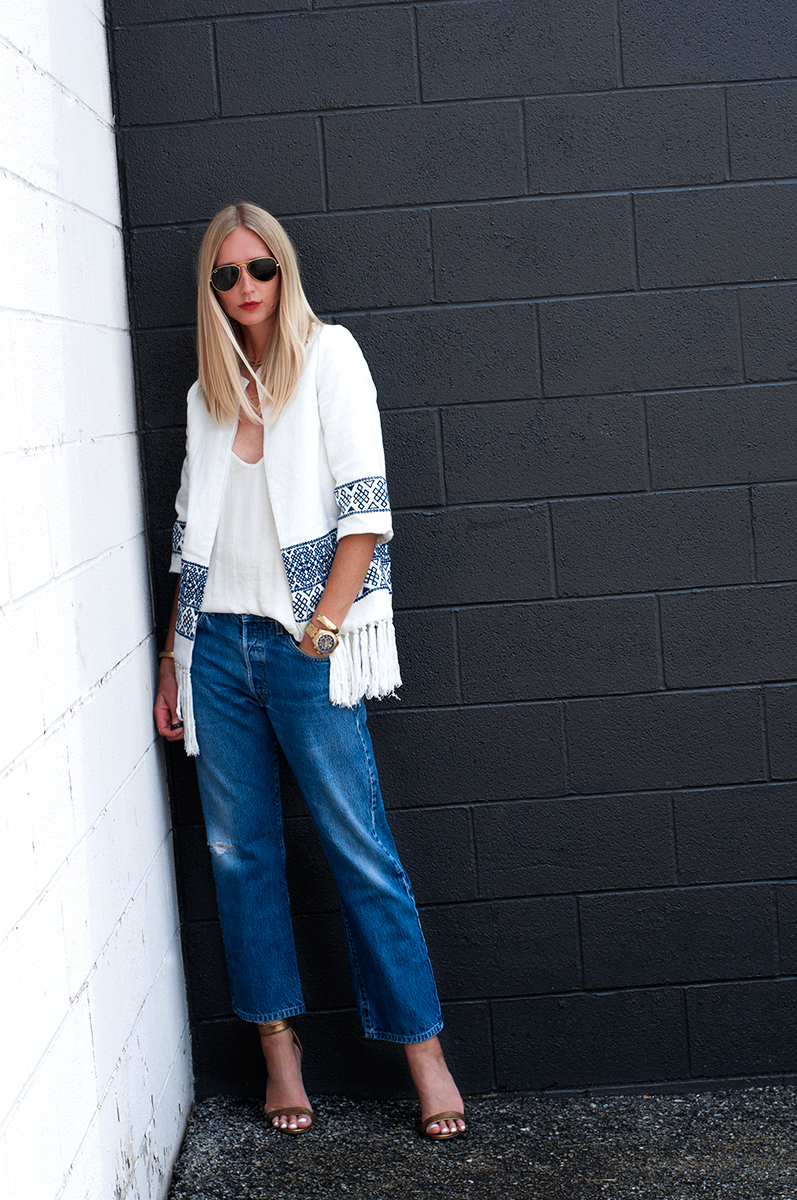 Vintage Levis 501 Jeans with Zara Embroidered Kimono, Blogger Style 2015