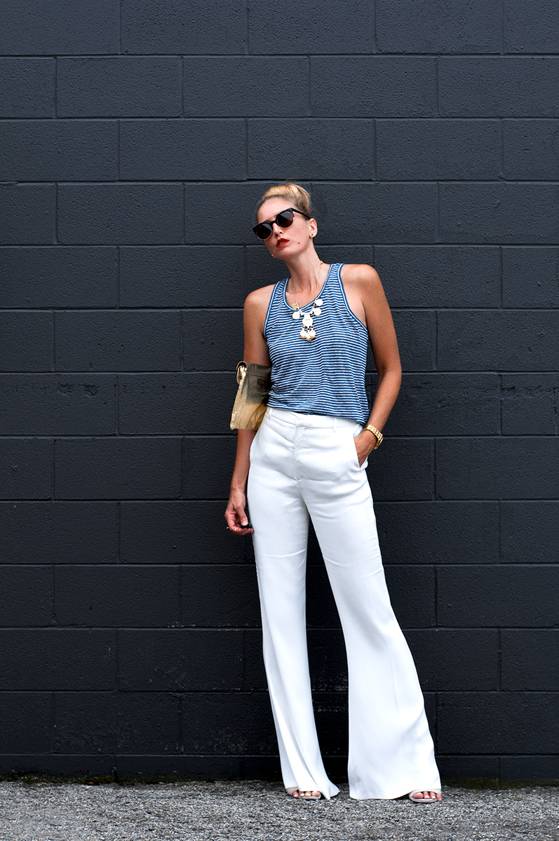 Zara White Flared Trousers & Striped Linen Tank, Blogger Style Summer 2015