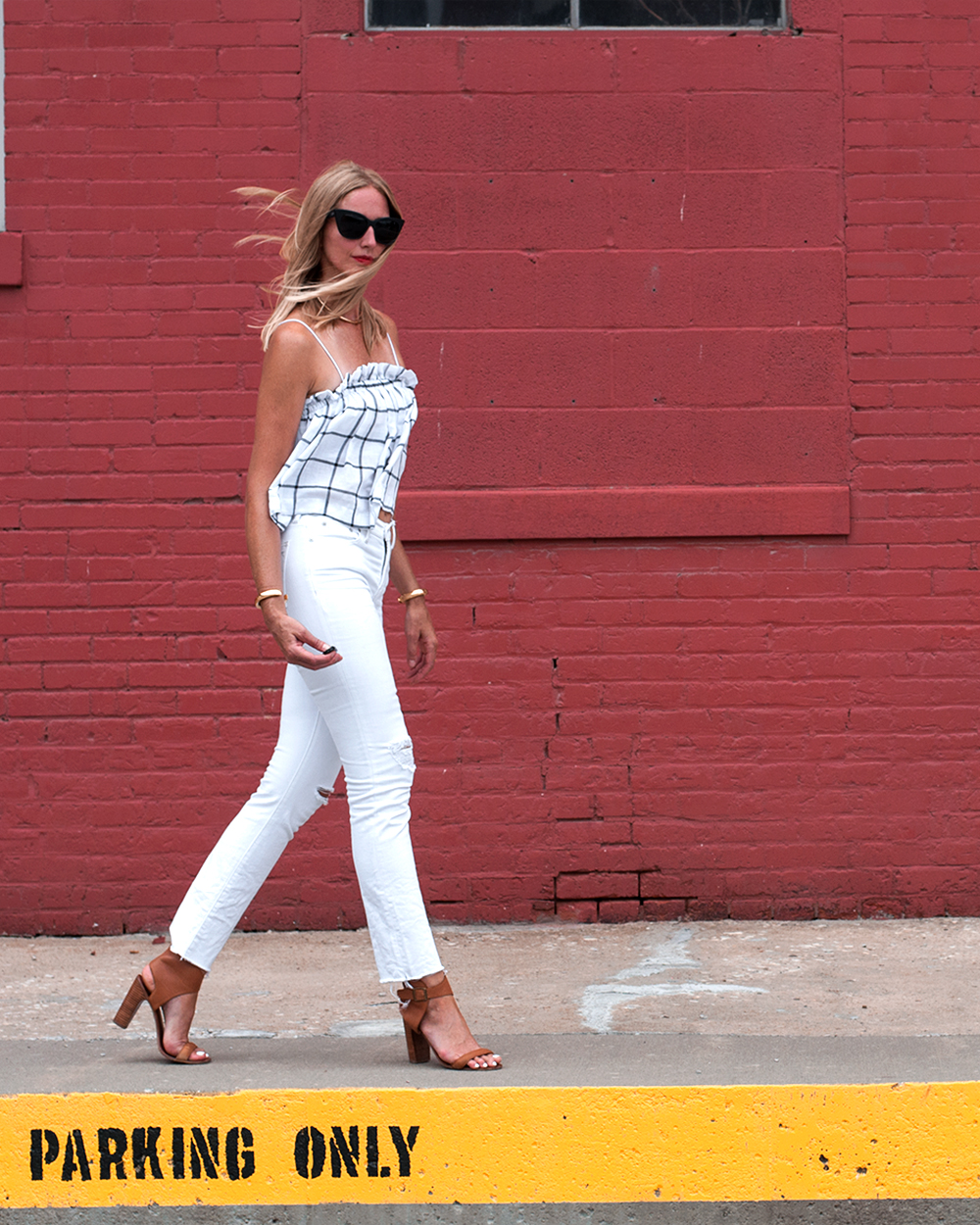 Madewell Alley Straight Cut-Edge White Jeans